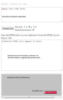Blogger kod kutusu