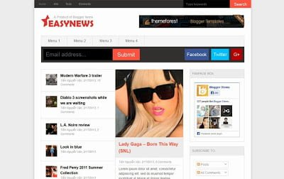Easy News E28093 Responsive Magazine Blogger Template