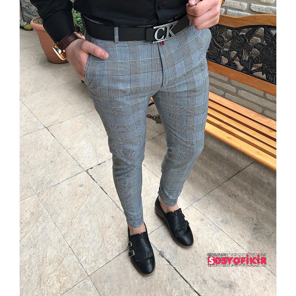 score michail kareli desenli slim fit erkek pantolon t1529  0478814921513960