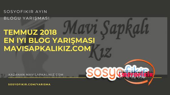 Temmuz 2018 En İyi Blog Yarışması Birincisi Mavisapkalikiz.com :)