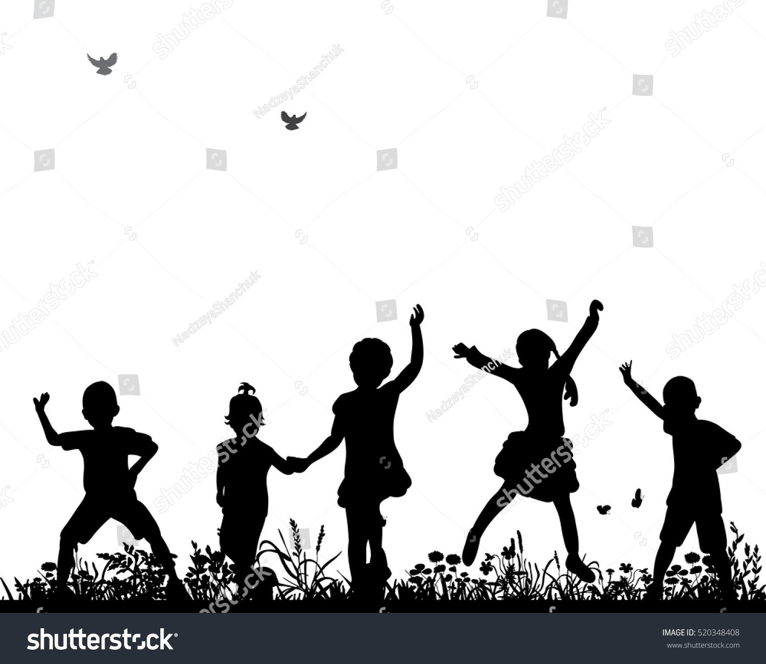 stock vector vector silhouette of children dancing and jumping 520348408
